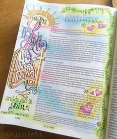 Philippians 1 21 in Krista Hamrick's Bible