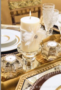 Vintage-style weddings are all the rage...add feathers, rhinestones, and gold accents for your own 1920s style reception.
