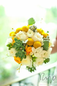Bouquet of succulents, Billy balls, ranunculus and garden roses by Plum Sage Flowers. Photo by Ryan Olsen Photography.