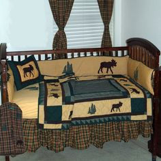 Rustic Themed Baby Room | ... Trail Brown Black and Green Rustic Moose 6 Piece Crib Bedding Set