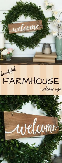 """Beautiful farmhouse """"Welcome Sign"""" on Etsy!!! I love how they styled the Sign on this boxwood wreath too... definitely a must for your rustic chic / farmhouse home!! :: farmhouse living room, farmhouse kitchen, farmhouse dining room, farmhouse decor, farmhouse style, cottage decor, cottage style, rustic decor, rustic style :: Lauren B Montana"""