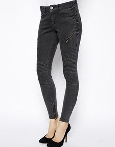 Enlarge ASOS Whitby Low Rise Skinny Ankle Grazer Jeans in Charcoal Stripe