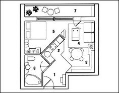 Вариант перепланировки однокомнатной квартиры № 4 Small House Plans, House Floor Plans, Small Tiny House, Studio Type Apartment, Apartment Layout, Bedroom Layouts, House Layouts, Compact House, Hotel Room Design