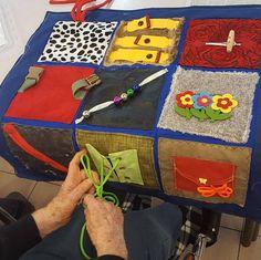 Custom multi sensory quilt touch and feel Alzheimer's dementia the elderly fidget stimulation handmade creative unique sewing artist Dementia Crafts, Alzheimers Activities, Fabric Crafts, Sewing Crafts, Sewing Projects, Diy Crafts, Sensory Blanket, Fidget Blankets, Fidget Quilt