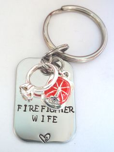'Firefighter Wife' Keychain (with helmet and wedding ring charms) | How cute!