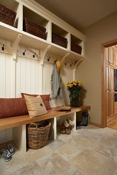 Mud room-- cheaper than cabinets, really cute wainscotting