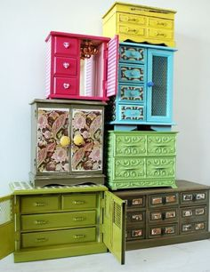 Various painted jewelry boxes... wouldn't a bunch of them make more interesting craft storage than ugly plastic drawers from the hardware store?