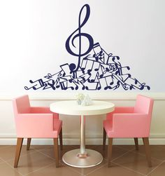 Treble Clef And Notes Vinyl Decals Wall Sticker by VinylDecals2U, $24.65