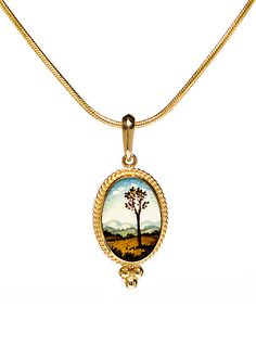 """""""Oval landscape pendant in beaded 14k gold setting"""" Created by Christina Goodman One of a Kind This delicate landscape was hand painted using fine brushes and a magnifier. The scene is inspired by background details in Italian Renaissance paintings"""