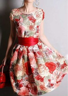 CACHAREL - Elegant French Floral Silk Princess Dress