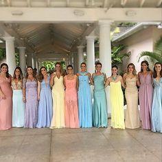 Party looks, wedding bridesmaids, pastel bridesmaid dresses, marry me, dres Pastel Bridesmaid Dresses, Hijab Wedding Dresses, Disney Wedding Dresses, Disney Princess Dresses, 15 Dresses, Wedding Bridesmaids, Party Dresses, Rainbow Wedding, Blue Gown