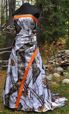 Wrap waist full camo Wedding dress 'Maggie' by WeddingsByBecky