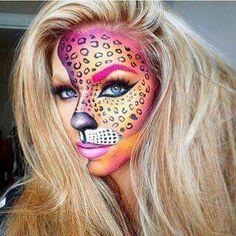Vibrant cheetah makeup