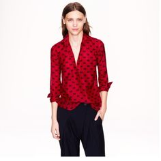 J. Crew Bow Popover EUC.  A great shirt, perfect for layering.  The deep red will be perfect for the holidays! J. Crew Tops