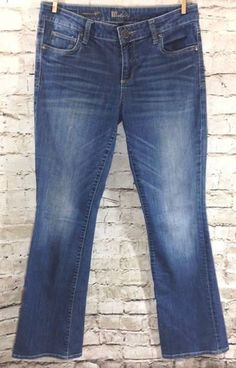 """KUT from the Kloth Farrah Baby Bootcut Jeans Size 6 Distressed Wash Denim 32"""" #KUTfromtheKloth #BootCut"""