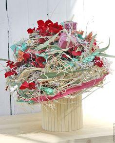Купить Интерьерная композиция Бирюза - бирюзовый, красный, композици яиз сухоцветов, композиция для интрьера