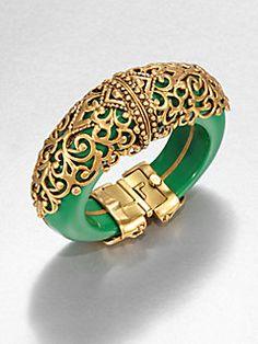 Oscar de la Renta Filigree-Encrusted Cuff Bracelet Love Oscar cuffs this season- stunning! Emerald Jewelry, Gemstone Jewelry, Gold Jewellery, Silver Jewelry, 925 Silver, Silver Bracelets, Sterling Silver, Gold Bangles Design, Jewelry Design
