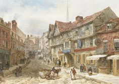 I love this old painting of Wyle Cop in Shrewsbury - very much the inspiration for the setting of Gud City in www.Splidge.co.uk