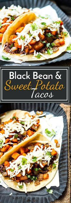Black Bean & Sweet Potato Tacos A gluten free and vegetarian taco full of refried black beans, sweet potatoes, cilantro and cheese! They make a great breakfast, lunch or dinner taco recipe. Veggie Dishes, Veggie Recipes, Mexican Food Recipes, Whole Food Recipes, Cooking Recipes, Healthy Recipes, Healthy Corn, Cooking Dishes, Free Recipes