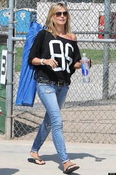 Heidi Klum Shows Off Sporty Style At Son's Football Game In LA