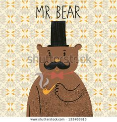 Mr bear. Cute cartoon bear in classical style with top hat, smoking pipe, bow-tie and nice mustache. Vector cartoon character on vintage seamless pattern by smilewithjul, via ShutterStock