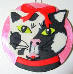 Black and White Cat Polymer Clay Personalized Christmas Ornament | Wyverndesigns - Seasonal on ArtFire