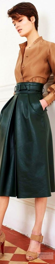 Martin Grant F-16 RTW: tan blouse & shoes, green leather culottes.