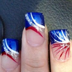Top 16 Holiday Nail Designs For Patriot & July – New & Famous Fashion Manicure - DIY Craft Fingernail Designs, Nail Polish Designs, Cool Nail Designs, Holiday Nail Designs, Holiday Nail Art, Fancy Nails, Pretty Nails, Blue Nails, My Nails