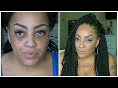 Before & After Beauty On A Budget Cheap Makeup + Senegal Twist Wig - YouTube