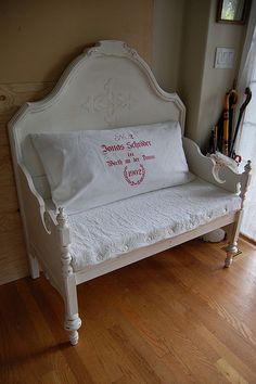 Antique White Headboard Bench: LOVE this!! Might have to do this with Greer's bed when she has outgrown it (10 years from now)!