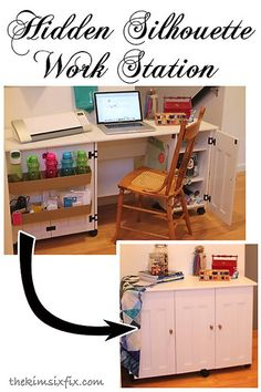 A way to set up a cutting machine work station with plenty of workspace (Silhouette/Cricut) and then close it up so it looks like a regular cabinet.