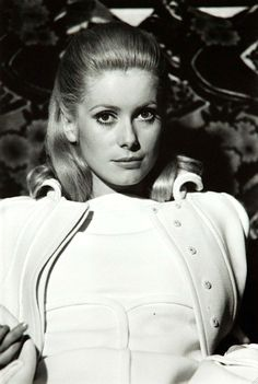 "Catherine Deneuve wearing Pierre Cardin in the film ""Manon 70,"" photo by Jack Burlot, 1967, Paris"