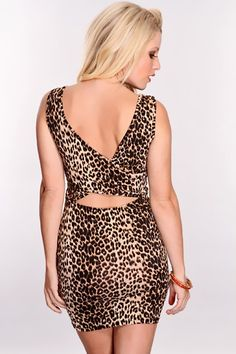 Brown Leopard Cut Out Back Sexy Party Dress
