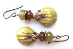 RESERVED FOR N.M. Contemporary Earrings, Natural Gemstones, Green Garnet, Handmade Ceramic, Niobium Ear Wires Dangle Earrings