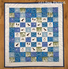Puffin quilt made using original puffin and marine fabrics from Sea Parrot. www.seaparrot.co.uk Seaside Pictures, Patchwork Fabric, Fabric Shop, Quilt Making, Wall Hangings, Parrot, Fabric Design, Quilting, Fabrics