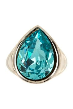 Light Turquoise Swarovski Crystal Teardrop Ring by Candela on @HauteLook