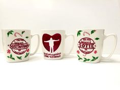 """Handmade by Do : Personalized hand painted family set mugs """"Footbal. Painted Mugs, Hand Painted, Family Set, Football Team, Glass, Handmade, Painting, Hand Made, Painted Cups"""