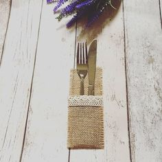 Wedding Tableware Bags Hessian Jute Cutlery Pocket Knife and Fork Burlap Lace Pouch Bag Party