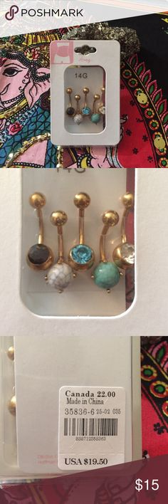 Aqua Gem Gold Anodized Ancient Aster Flower Belly Ring