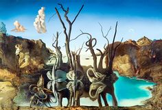 """Dali Salvador Swans Reflected In Elephant 1937 Private Collection (from <a href=""""http://www.oldpainters.org/picture.php?/32752/category/338"""">serra</a>)"""