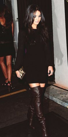 long sleeve little black dress with thigh high black boots.  sexy, sophisticated, and classy.