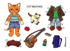Karen`s Paper Dolls: Cat Brother 1-3 Paper Doll to Print in Colours. Kattebror 1-3 påklædningsdukke til at printe i farver.