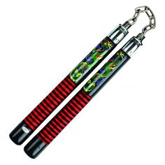 """Flashy Dragon Nunchaku for sale from AllNinjaGear.com - These 12"""" nunchucks are loud and proud with a stunning colorful dragon design and thread wound handles!"""