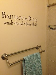 Bathroom Rules Wash Brush Floss Flush Vinyl Wall Decal