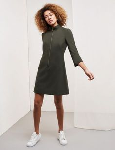 Zip Funnel Neck Shift Dress - Khaki