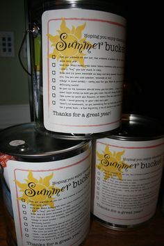 End-of-year teacher gift: Summer Bucket List. A bucket with items in it for teachers' summer vacations.
