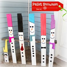 Snowmen made from a wooden pallet; one for each member of ur family!