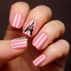 Paris Nails: Sally Hansen White On, Zoya Shelby and Essie Licorice (work / play / polish) Fancy Nails, Diy Nails, Cute Nails, Pretty Nails, Eiffel Tower Nails, Paris Nails, Nailart, Uñas Fashion, Cute Nail Designs