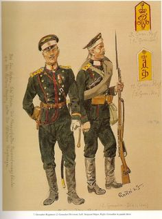 7º Regimiento de Granaderos de la 2ª División de Granaderos: Izquierda: Sargento Mayor. Derecha: Soldado en uniforme de parada.  Las dos hombreras de la esquina derecha: 1.- 3º Regimiento de Granaderos de la 1ª División de Granaderos. 2.- 11º Regimiento de Granaderos de la 3ª División de Granaderos.