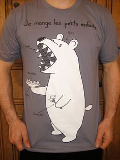 French Bear version 2.0 Tshirt (available in mens and womens sizes) by bikeparts on Etsy